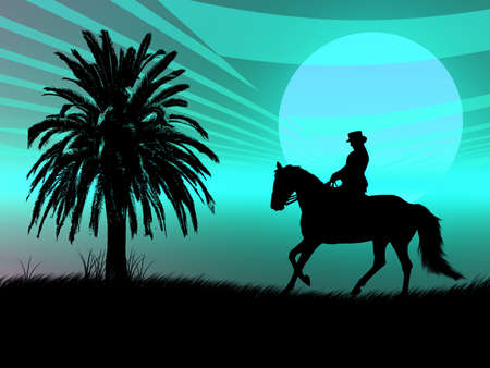 Woman riding with her horse in the night Stock Photo - 2454799