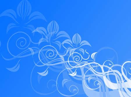 カラフルな背景のための青の花飾り