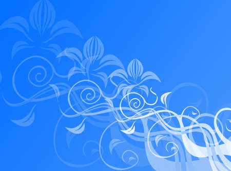 Floral decoration in blue for a colorful background