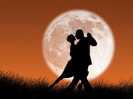 Couple dancing a tango in the moonlight