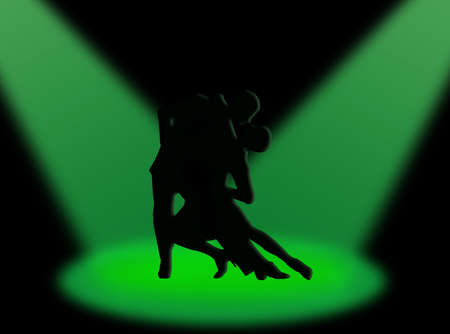 sexual activities: Couple dancing a tango in the spotlight Stock Photo