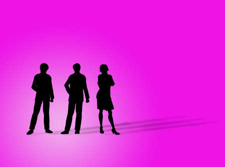 earnings: Business figures silhouette on a colorful background Stock Photo
