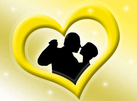 Lovers inside a yellow heart on a starry background photo