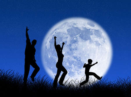 grass family: Happy family running and jumping in the moon