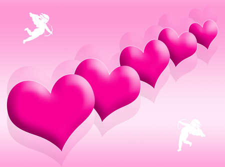 Red hearts background as symbol of love photo