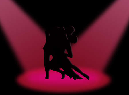 elasticity: Couple dancing a tango in the spotlight Stock Photo