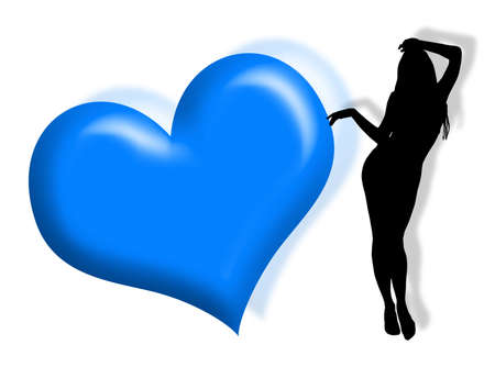 infatuation: Black woman silhouette in love with hearts