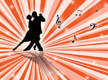elasticity: Couple dancing a tango on a star-burst background