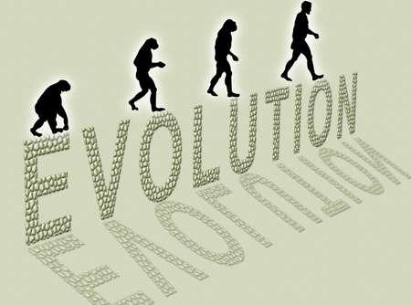 小さな石で作られた男の進化および執筆についての図
