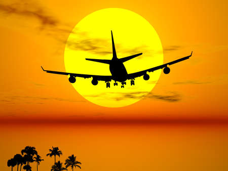 depart: Plane flying in the sun for an exotic travel Stock Photo