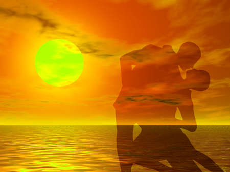 sexual activity: Couple in a sexy attitude dancing in the sunset