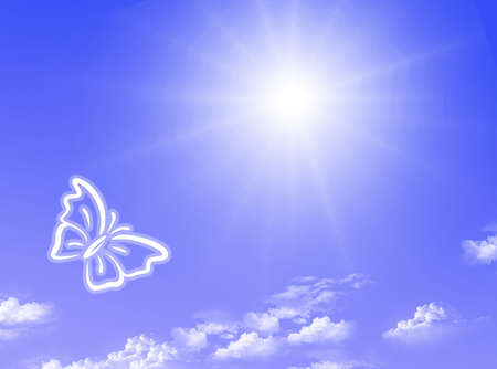 Spring sky with blue color, clouds and butterfly