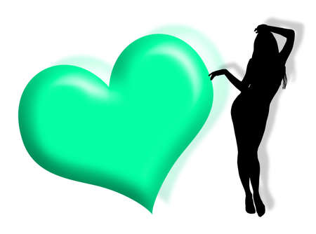 Black woman silhouette in love with hearts photo