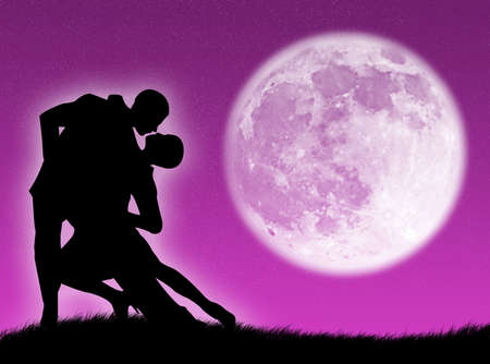 elasticity: Couple dancing a tango in the moonlight