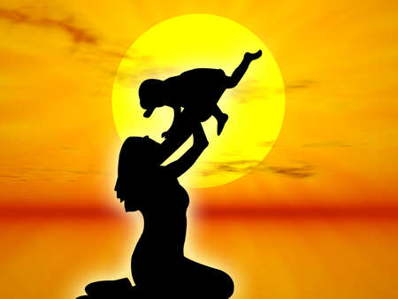 procreation: Mother and son in silhouette against the sunset