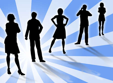 financial position: Business people silhouettes in different poses and attitudes