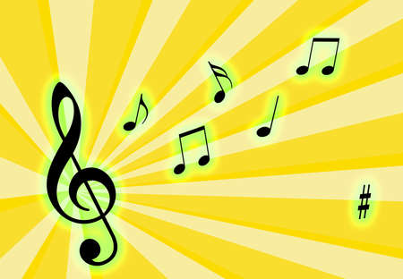 Music notes on the air with a colorful background Stock Photo - 2990412