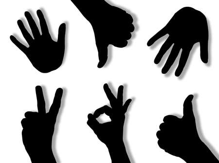 Hands silhouettes in different poses and attitudes Stock Photo - 3002135