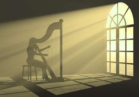 analogical: Woman playing harp in the light