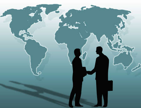 compromise: Two businessmen and a handshake in front of the world Stock Photo