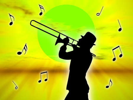 A trumpet player in the sunset against the sun photo