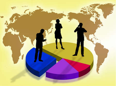 lost world: Business team on a graphic as symbol of business in the world