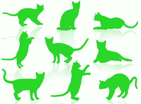Illustration about funny cats silhouette in typical poses Stock Illustration - 3103387