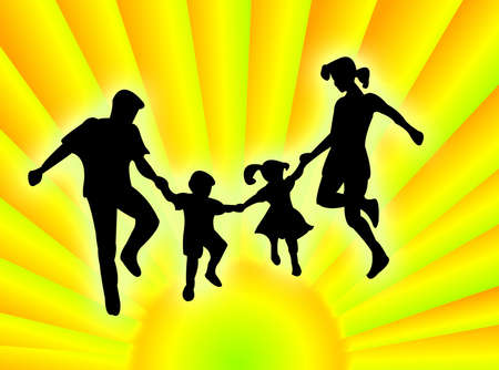 procreation: A very happy family in the colourful sunrays