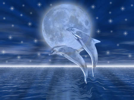moon fish: Dolphins in the night jumping on the moon Stock Photo