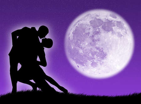 Couple dancing a tango in the moonlight photo