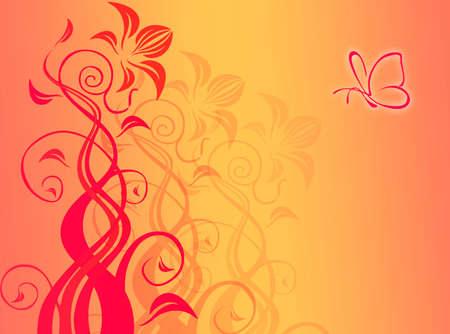 図形や蝶で、抽象的な背景