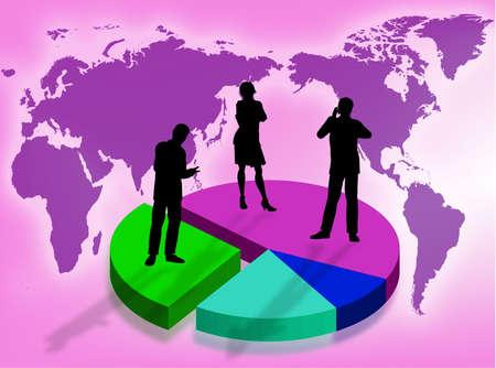 ビジネスの世界のシンボルとしてグラフィック事業チーム 写真素材