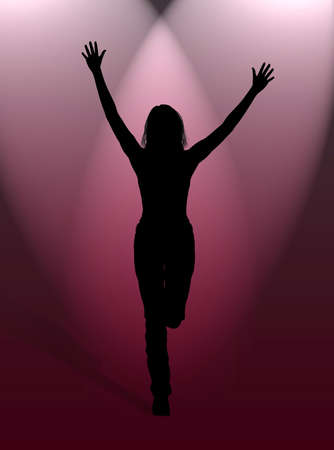 rejoice: A woman jumping for happiness in the light