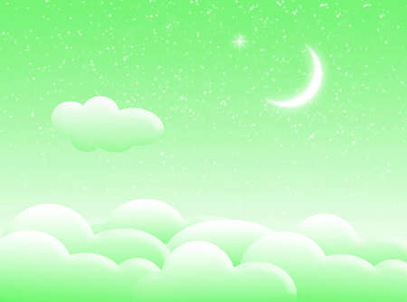 nocturne: Illustration about sky with clouds and moon Stock Photo
