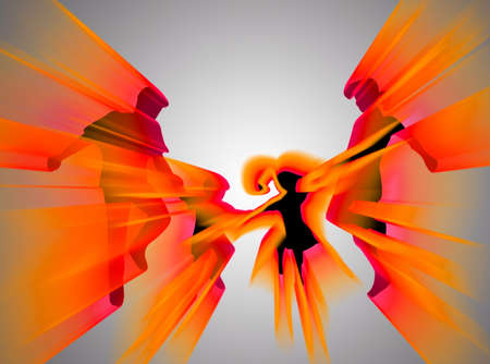 complicity: Jumping  silhouette with flames and colors