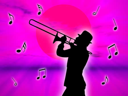 against the sun: A trumpet player in the sunset against the sun Stock Photo