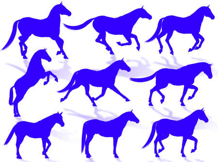 Black horse silhouettes in different poses and attitudes Stock Photo - 3281544