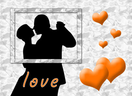 infatuation: Couple kissing in a card as symbol of love