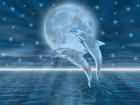 estrella de la vida: Delfines en la noche saltando a la luna  Foto de archivo