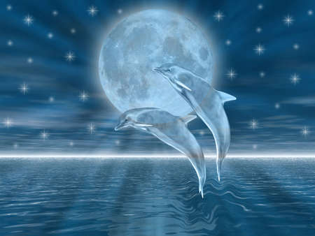 moon light: Dolphins in the night jumping on the moon Stock Photo