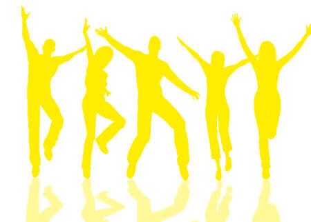 rejoice: People group jumping for happiness and joy