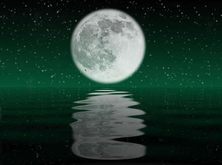 nocturne: Starry night with moon reflected in the ocean