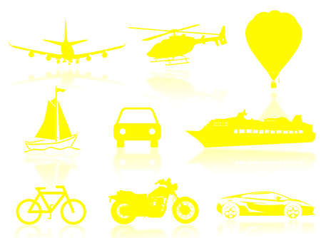 kilometres: Transport silhouette to represent travel concept Stock Photo