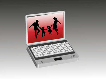 complicity: Happy family inside a computer screen