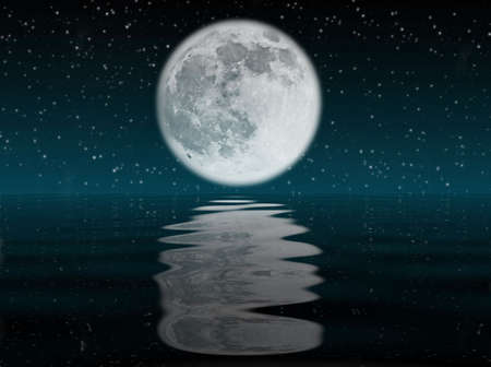 Starry night with moon reflected in the ocean photo