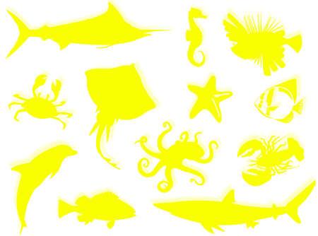 sealife: Sea-Life schwarze Silhouette f�r diese Sea-Life Hintergrund