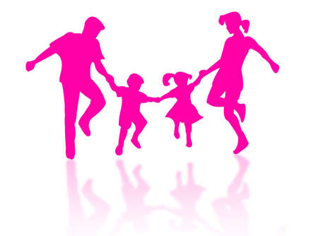 complicity: Jumping family silhouette against a white background Stock Photo