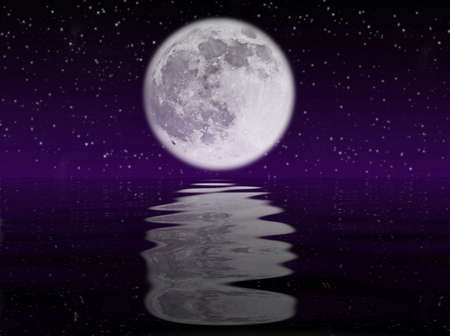 Starry night with moon reflected in the ocean Stock Photo - 3529919