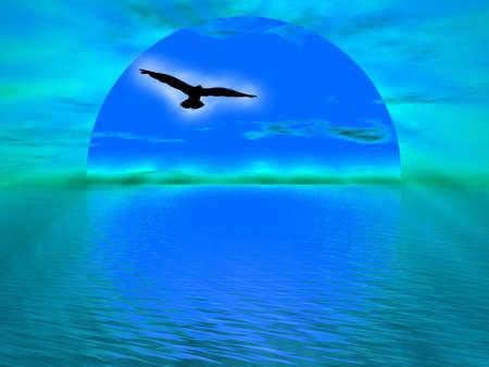Ilustración sobre Domingo bajando el océano de la puesta de sol Foto de archivo - 3553085