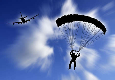 Parachutist falling in the sky with plane on the background Stock Photo - 3638397